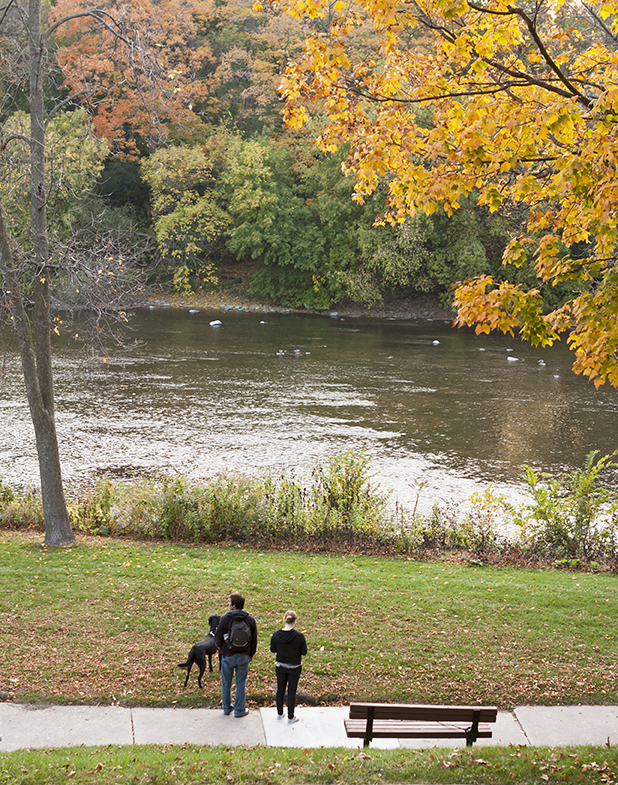Couple with Their Dog Looking at a River