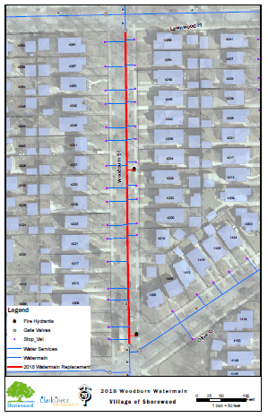 2019 Woodburn watermain relay project area